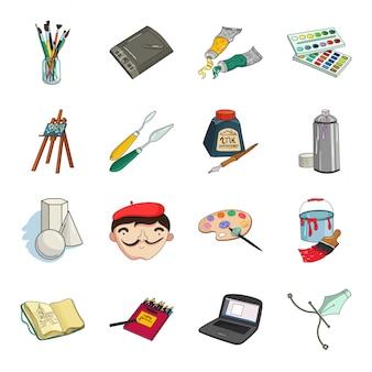 Icona stabilita del fumetto del disegno e dell'artista. illustrazione dell'artista pennello isolato. vernice e spazzola stabilite dell'icona del fumetto isolato.