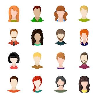 Icona stabilita del fumetto del fronte e dell'avatar. persone dell'icona stabilita del fumetto isolata ritratto. avatar e viso.