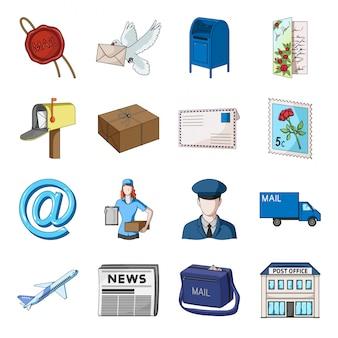 Icona stabilita del fumetto del postino e della posta. posta di consegna. posta e postino stabiliti dell'icona del fumetto isolato.