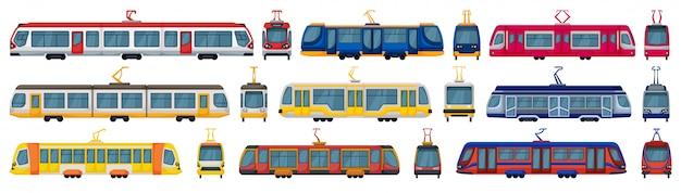 Icona stabilita del fumetto del tram. tram di illustrazione su sfondo bianco. tram set di icone dei cartoni animati.