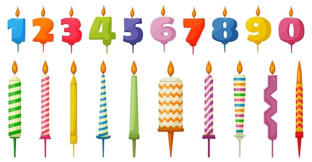 Icona stabilita del fumetto della candela di compleanno. fumetto imposta anniversario icona. candela di compleanno illustrazione su sfondo bianco.