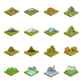 Icona stabilita del fumetto della montagna. salone dell'icona stabilito del fumetto di paesaggio. montagna.