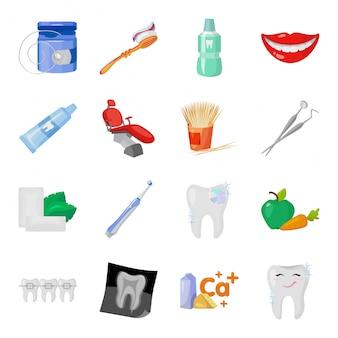 Icona stabilita del fumetto di cure odontoiatriche. illustrazione odontoiatria. isolato set di icone cartoon viaggi dentale e odontoiatria.