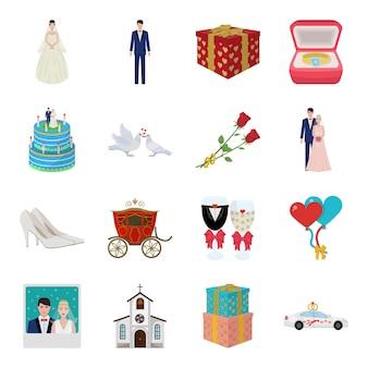 Icona stabilita del fumetto di nozze. illustrazione amore matrimonio. nozze stabilite dell'icona del fumetto isolato.