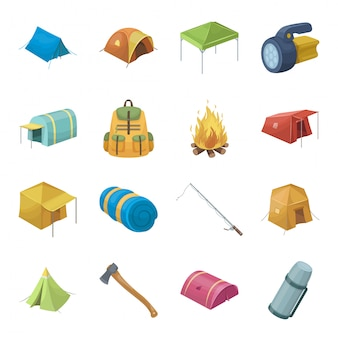 Icona stabilita del fumetto di tenda e campo. icona stabilita del fumetto isolata viaggio del fuoco di accampamento. tenda e campo.
