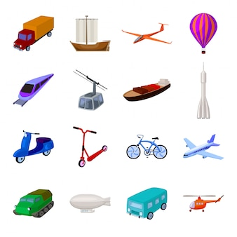 Icona stabilita del fumetto di trasporto. trasporto di viaggio di illustrazione. trasporto stabilito dell'icona del fumetto isolato.