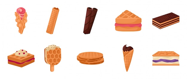 Icona stabilita del fumetto di vettore della cialda crema icona della cialda dell'icona dell'illustrazione di vettore insieme isolato del fumetto del dessert alla panna e dell'alimento del cioccolato.