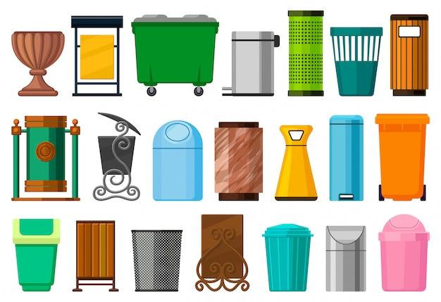 Icona stabilita del fumetto isolata bidone della spazzatura. pattumiera dell'icona stabilita del fumetto.
