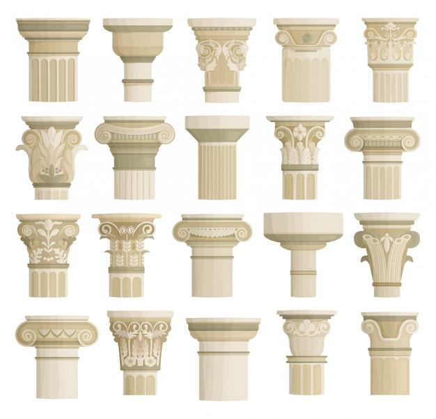 Icona stabilita del fumetto isolata cima della colonna. cartone animato imposta icona antico pilastro.