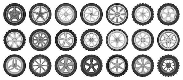 Icona stabilita del fumetto isolata ruote di automobile. pneumatico del veicolo dell'illustrazione
