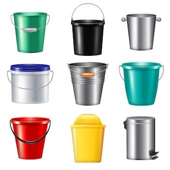 Icona stabilita isolata di nove secchi realistici di plastica e metallico per l'illustrazione differente di bisogni