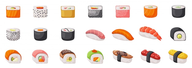 Icona stabilita isolata sushi. illustrazione cibo giapponese su sfondo bianco. rotolo di icone set fumetto.