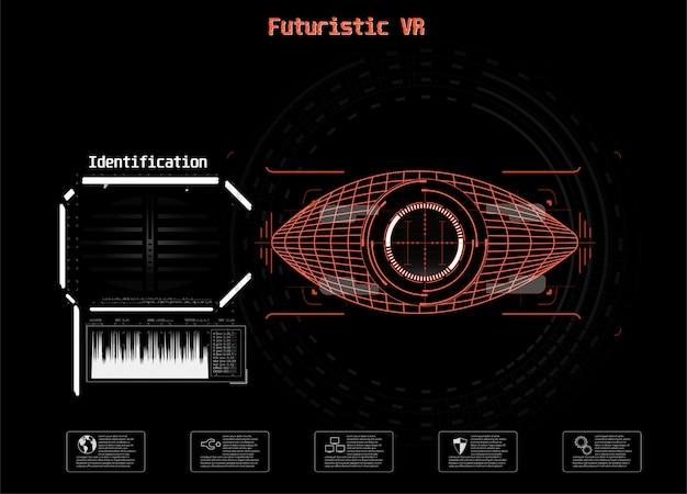 Icona sul blu. digital eye hud ui. . illustrazione di medicina. icona occhio. stile tecnologico futuristico. scansione del sistema di identificazione.