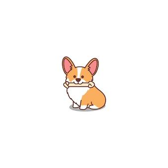 Icona sveglia del fumetto del cucciolo di corgi gallese