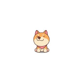 Icona sveglia del fumetto di seduta e sorridente del cucciolo di shiba inu