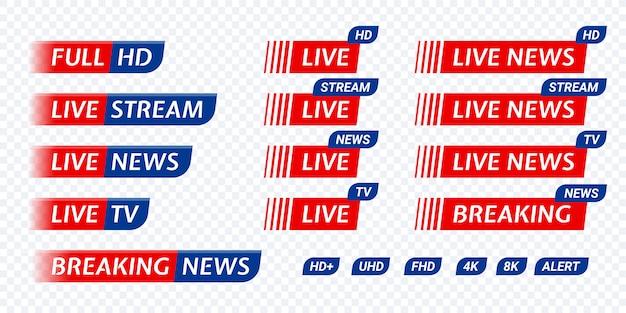 Icona tag notizie tv in diretta streaming. trasmissione live di simboli video