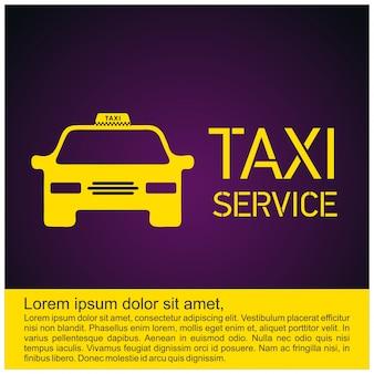 Icona taxi servizio taxi 24 ore serrvice yellow taxi car purple sfondo