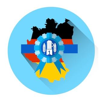 Icona tedesca di festa di festival di oktoberfest della birra della mappa