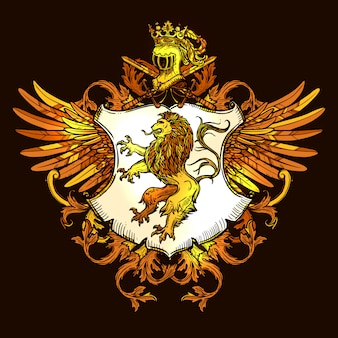 Icona variopinta emblema reale araldico classico