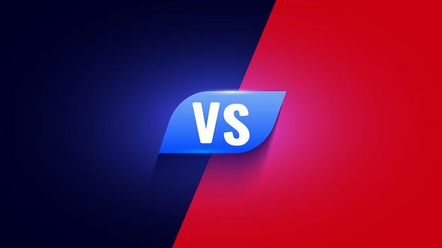 Icona versus rossa e blu. vs simbolo di lotta.