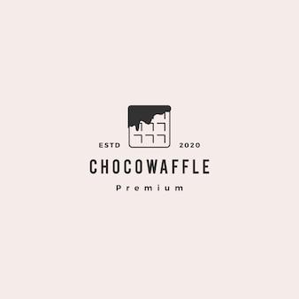 Icona vintage retrò di choco waffle cioccolato logo hipster