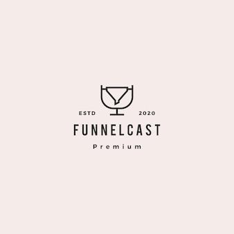 Icona vintage retrò di incanalamento podcast logo hipster per marketing blog video tutorial trasmissione radio canale