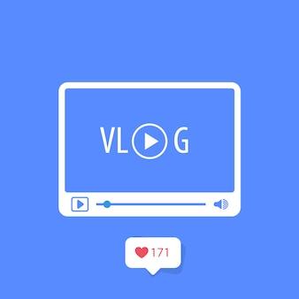 Icona vlog - concetto di blog video, lettore multimediale e simbolo di abbonati al canale