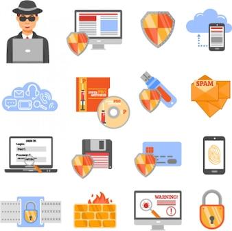 Icone a colori di sicurezza di rete