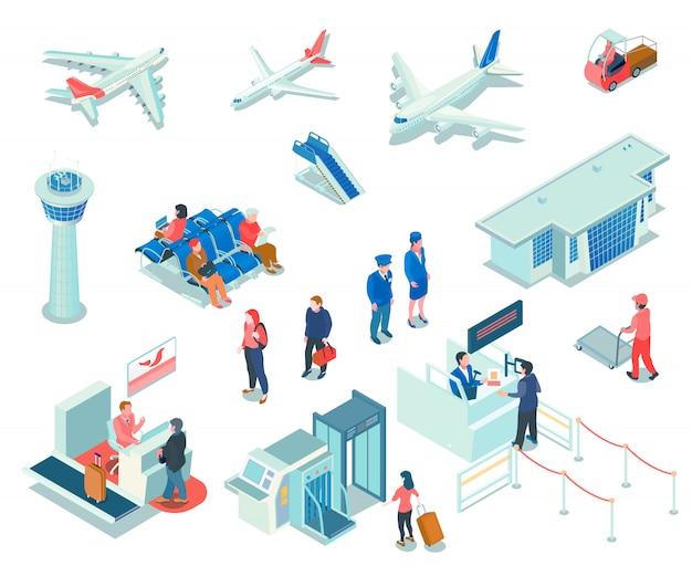 Icone aeroporto su bianco