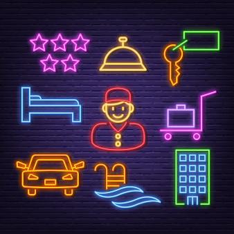 Icone al neon dell'hotel