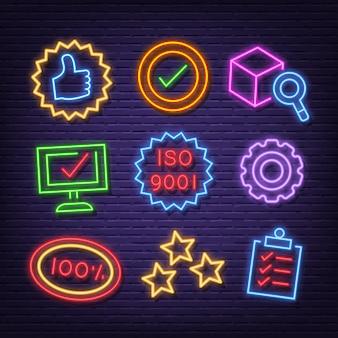 Icone al neon di controllo di qualità