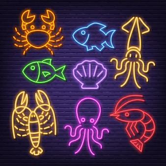 Icone al neon di frutti di mare