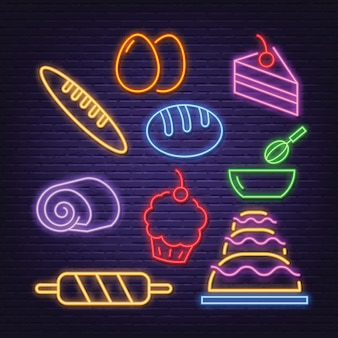 Icone al neon di panetteria
