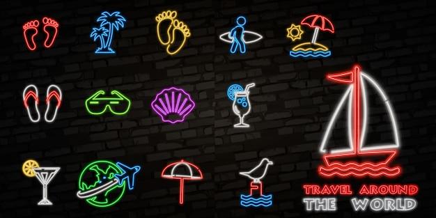 Icone al neon di viaggio estivo.