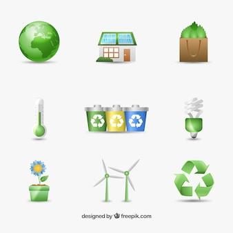 Icone ambientali per la giornata della terra