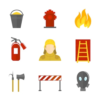 Icone antincendio piatte