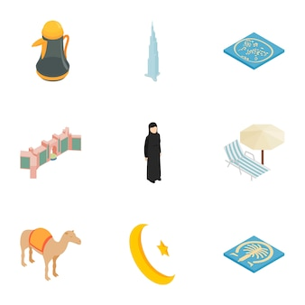 Icone arabe degli elementi messe, stile isometrico 3d