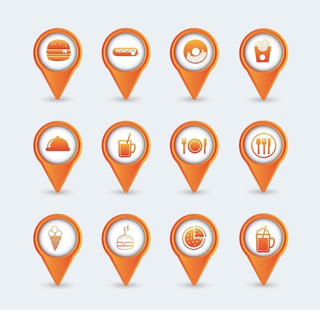 Icone arancione fast food su sfondo bianco vettoriale