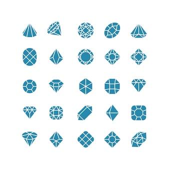 Icone astratte del diamante. costosi simboli vettoriali di gioielli