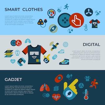 Icone astute di tecnologia dell'aggeggio di modo dei vestiti messe