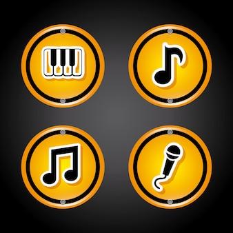 Icone audio su grigio