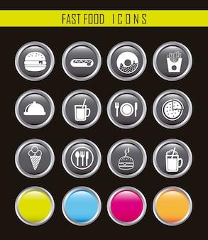 Icone bianche degli alimenti a rapida preparazione sopra il vettore nero del fondo