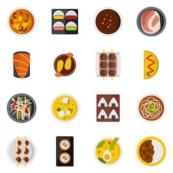 Icone cibo giappone impostato in stile piano