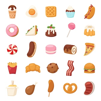 Icone cibo vettoriali.