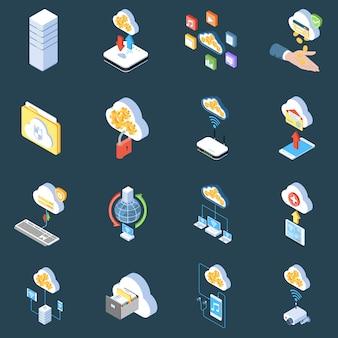 Icone cloud tecnologia isometrica di protezione della memorizzazione e sincronizzazione dei dati su oscurità isolato