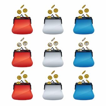 Icone colorate del portafoglio con le monete