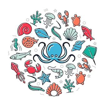 Icone colorate frutti di mare nell'illustrazione di progettazione del cerchio