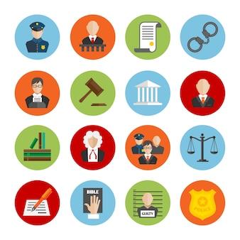 Icone colorate sulla giustizia