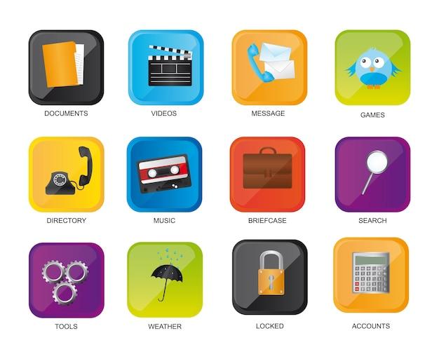 Icone colorate web isolato su sfondo bianco vettoriale