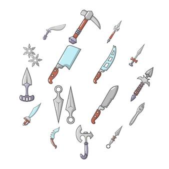 Icone d'acciaio degli oggetti delle armi messe, stile del fumetto